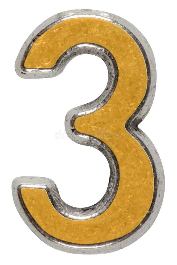 Metal o numeral 3 três, isolado no fundo branco imagens de stock royalty free