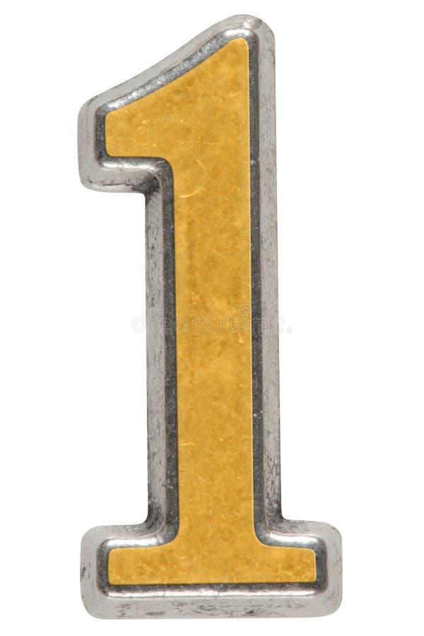 Metal o numeral 1 um, isolado no fundo branco imagens de stock royalty free
