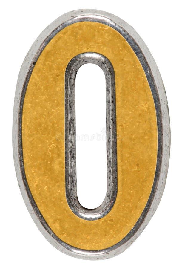 Metal o numeral 0 zero, isolado no fundo branco fotografia de stock royalty free