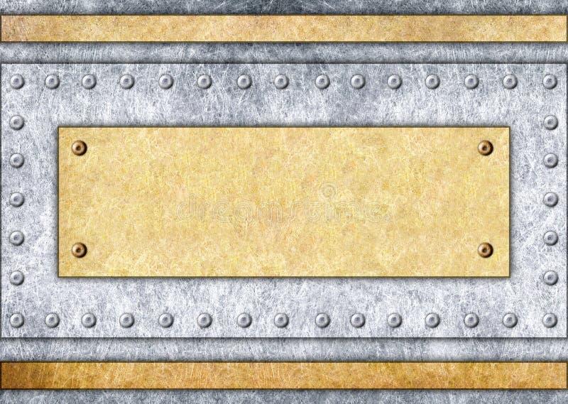 Metal o quadro do quadro indicador, do bronze ou do bronze, fundo, 3d, illustra ilustração stock