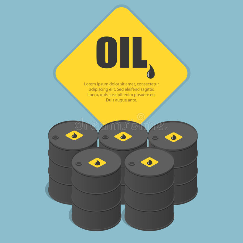 Metal oil barrel. Oil, petroleum, tank car, tanker. Oil industry business. Flat 3d isometric infographic vector royalty free illustration