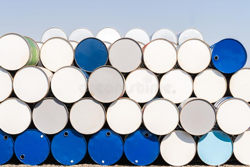 Metal Oil barrels. Industry oil chemical metal barrels stacked up in waste yard of tank and container, Kawasaki city near Tokyo Japan royalty free stock photos