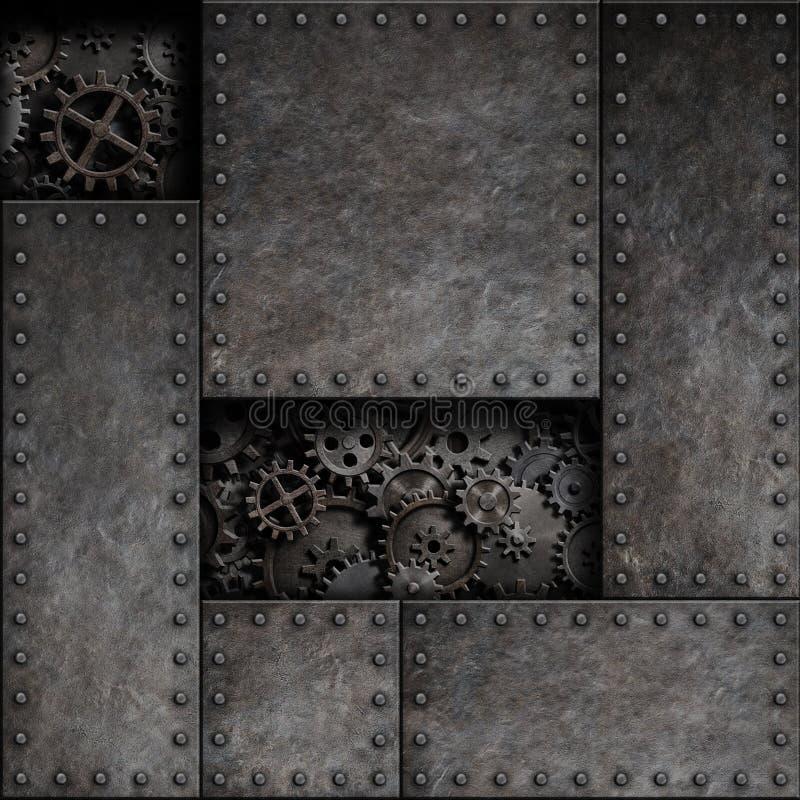 Metal oxidado com rodas denteadas e engrenagens atrás Fundo punk da ilustração da tecnologia 3d do vapor ilustração royalty free