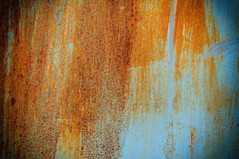 Metal oxidado velho da textura e do fundo com pintura azul fotografia de stock royalty free