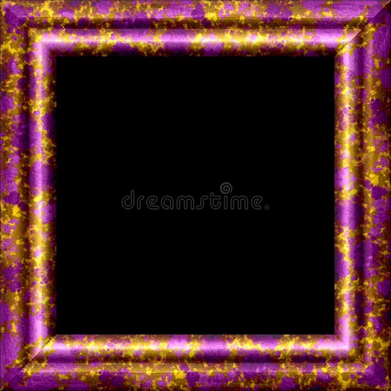 Metal púrpura, marco ornamental de madera con el chapoteo de oro stock de ilustración