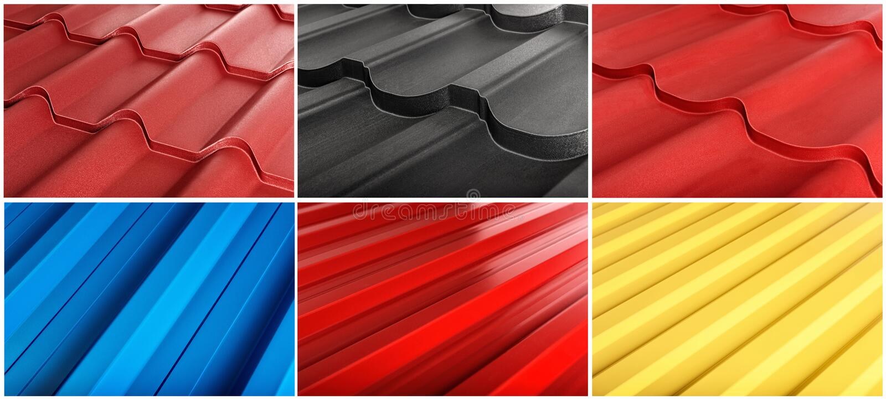 Metal płytka, nowożytny materiał dla dachu domy Set zrobi specyficznie dla specjalizować się stron internetowych obrazy stock