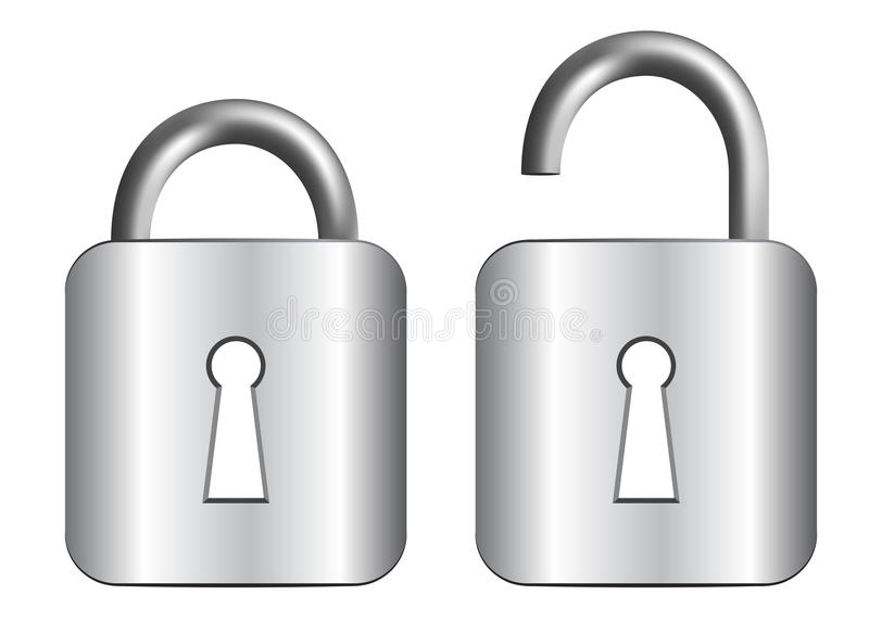 Metal padlock. Isolated on a white background vector illustration