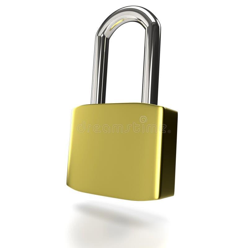 Metal padlock on a white background. stock illustration