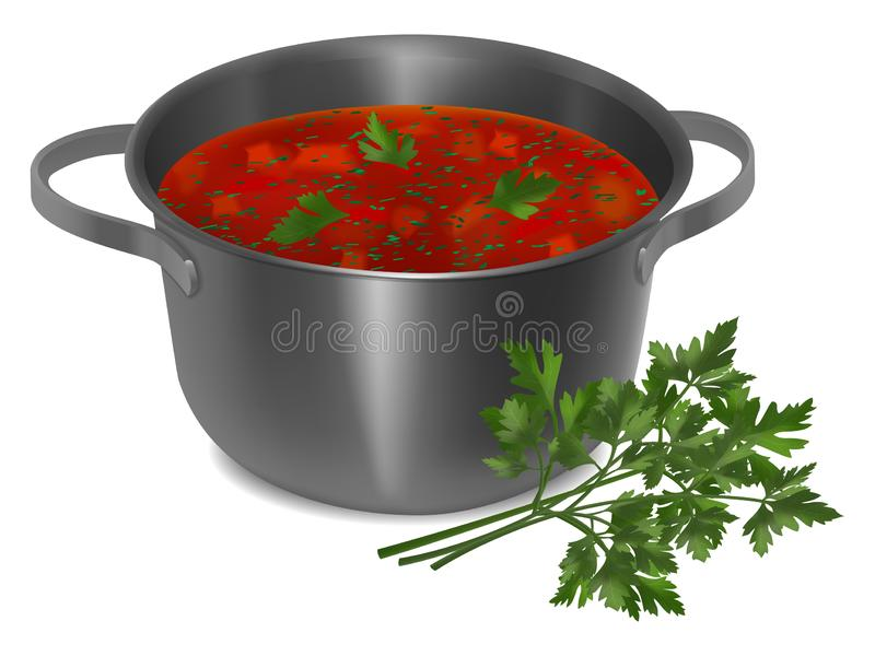 Metal pan with red soup and parsley. On white background. Realistic style. Vector illustration royalty free illustration