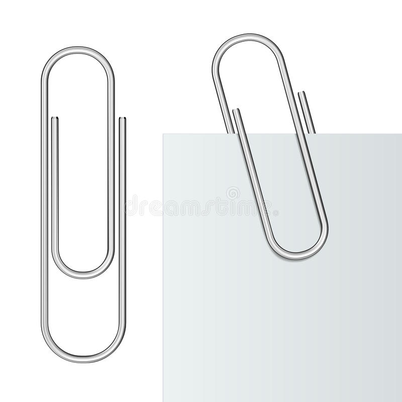 Metal paper clip. And paper isolated on white background. Vector Illustration royalty free illustration