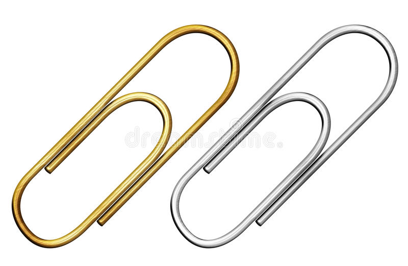 Metal paper clip set isolated with clipping path royalty free illustration