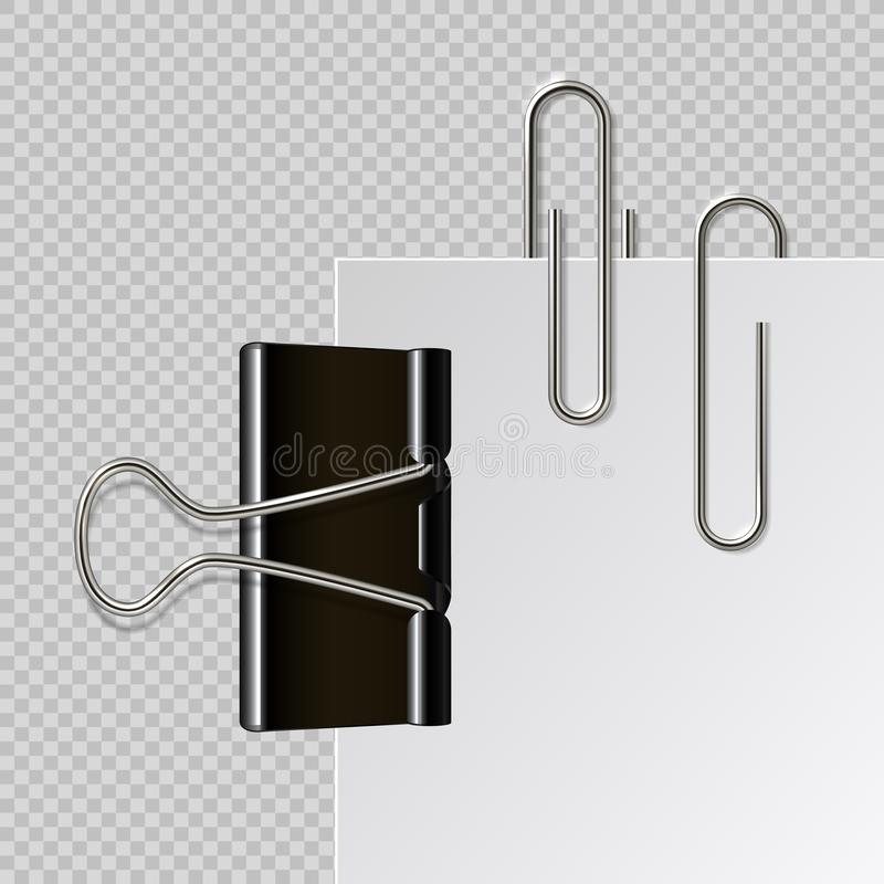Metal paper clips. Realistic black binder paperclips isolated on white sheet. Vector illustration holder on transparent. Metal paper clips. Realistic black royalty free illustration