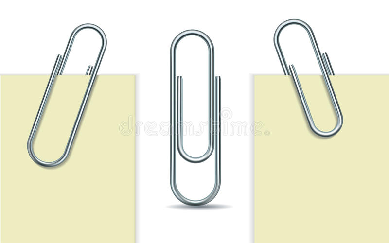 Metal paperclip and paper. Metal paper clip and paper isolated on white background. Vector Illustration stock illustration
