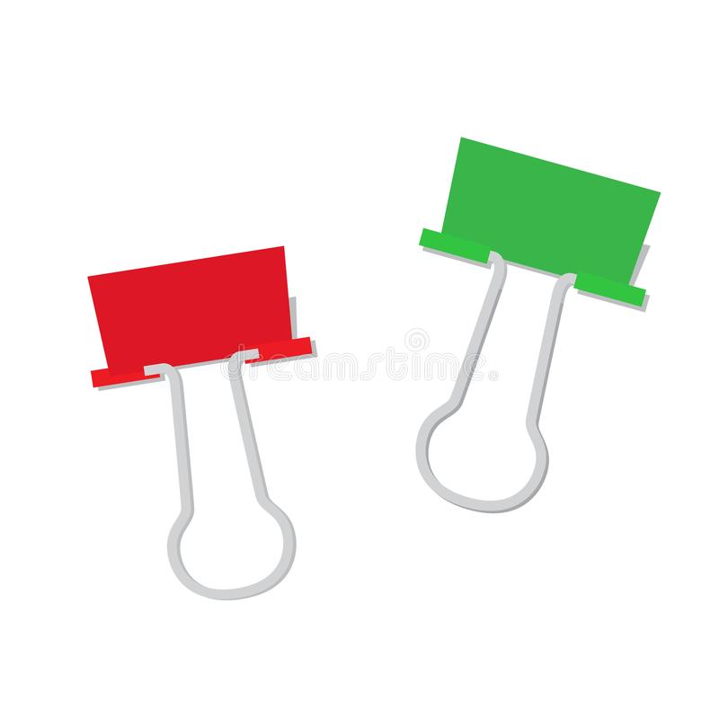 Metal Papierowa klamerka Czerwony i Zielony kolor ilustracji