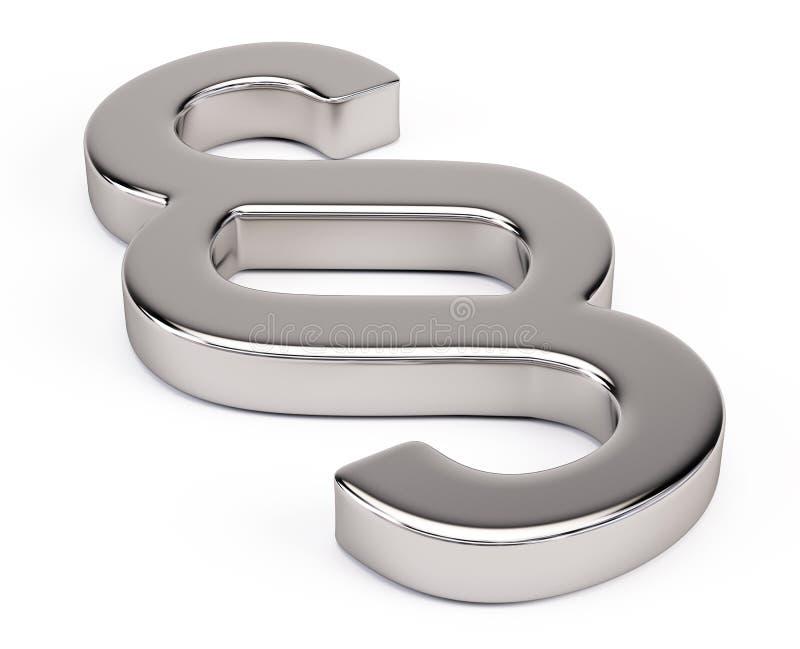 Paragraph symbol. Metal Paragraph symbol - 3d render vector illustration