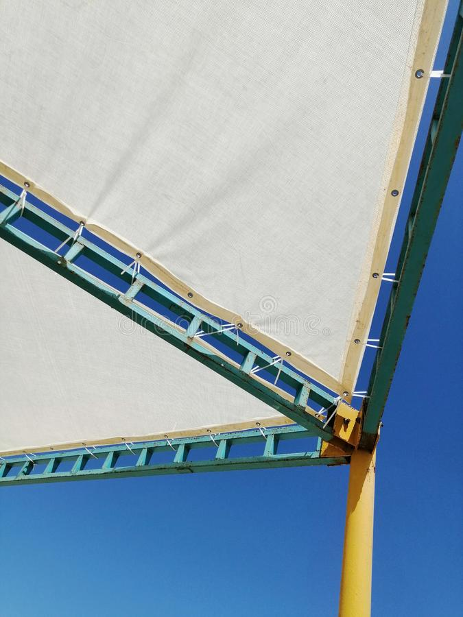 Sun awning with iron frame royalty free stock photo