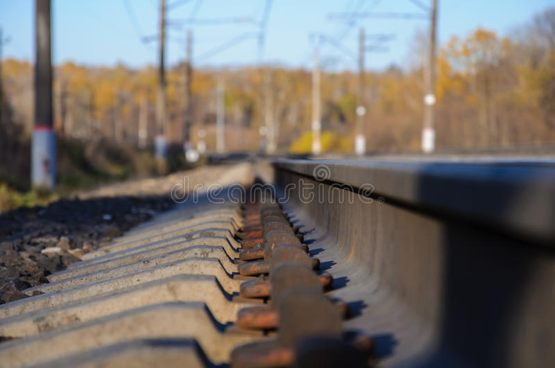 Metal parts of the railway track royalty free stock photography