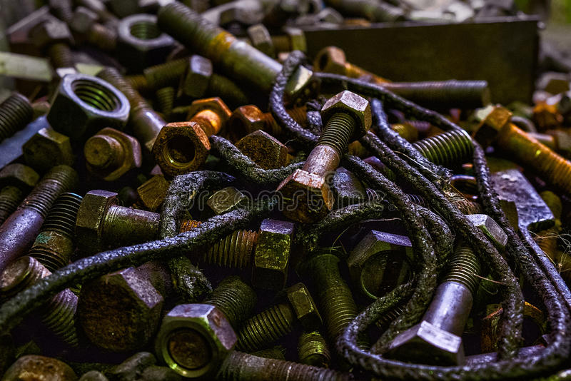 Metal parts and rust. Metal parts - still life industrial stock image