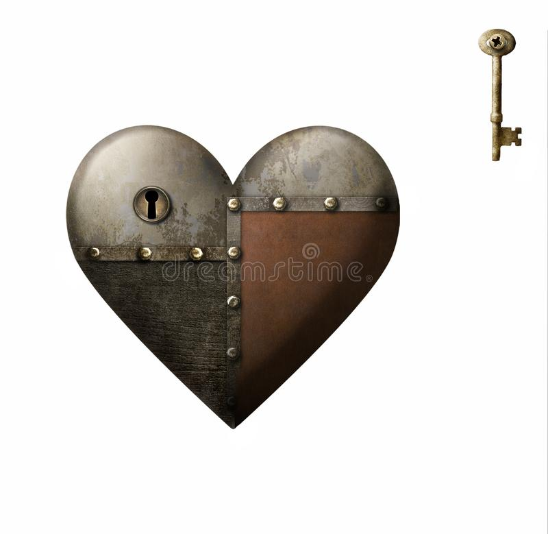 Metal patched heart with key isolated on white background vector illustration