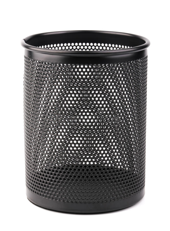 Metal Pen Pot. A black metal pen pot is isolated on white background stock photo