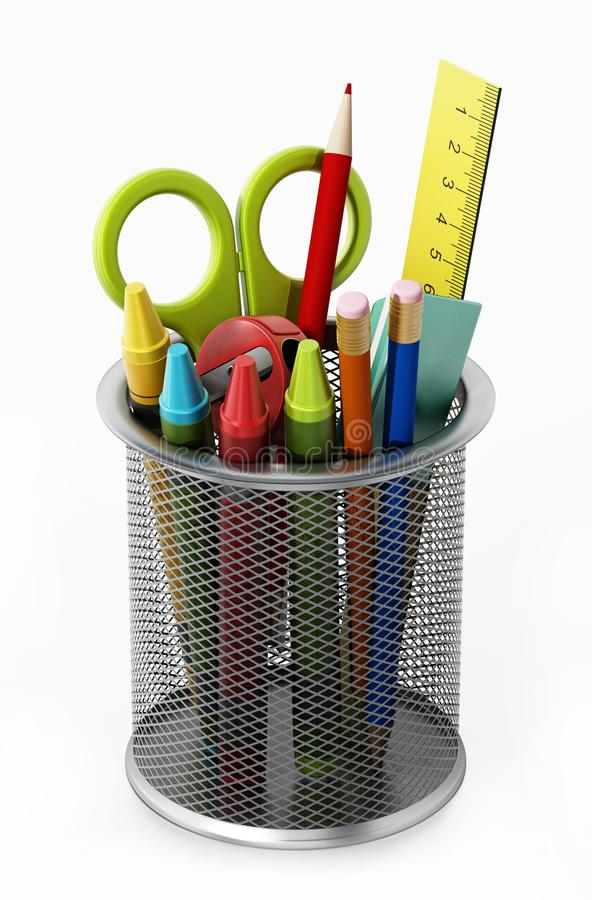 Metal pencil holder with school supplies. 3D illustration.  vector illustration