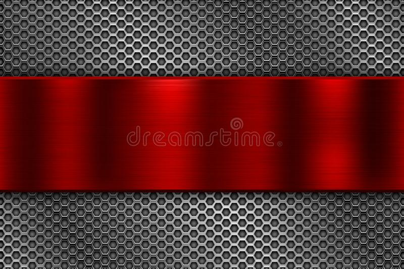 Metal perforated background with red plate stock illustration