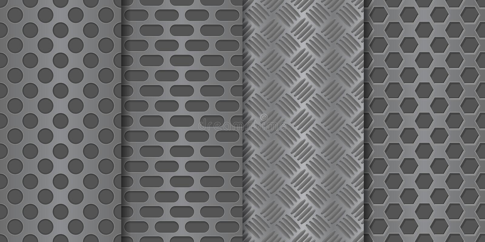 Metal perforated background. Seamless pattern royalty free illustration