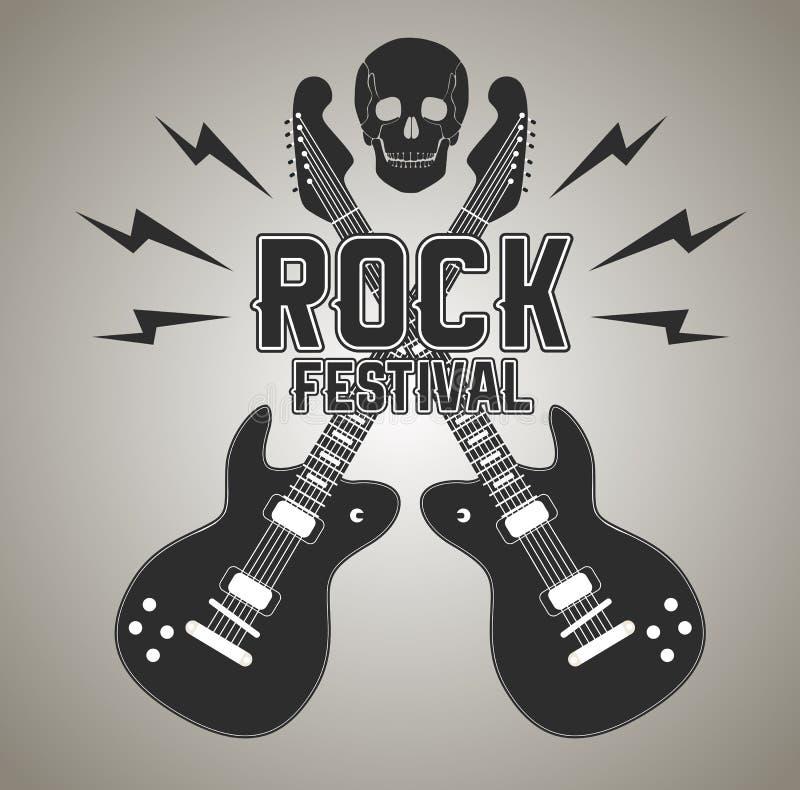 Metal pesado ou cartaz da rocha com guitarra e crânio ilustração royalty free