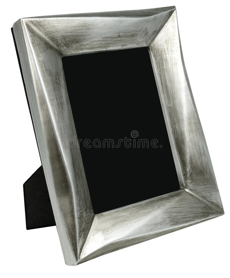 Metal photo frame with scratches standing on rope royalty free stock photos