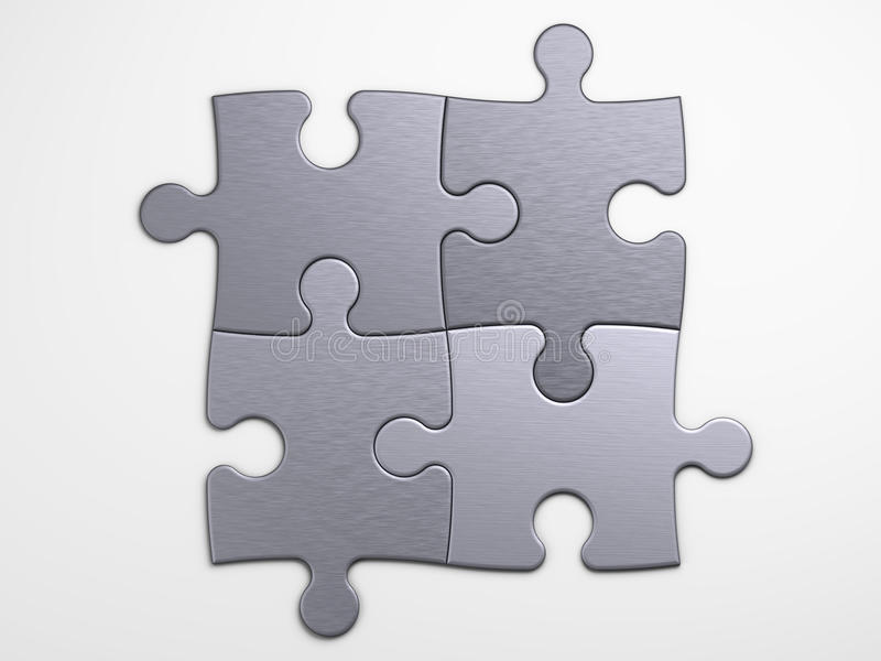 Metal pieces of puzzle to place concepts vector illustration