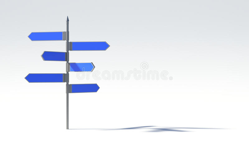 Metal pillar with signposts directions. Art stock illustration
