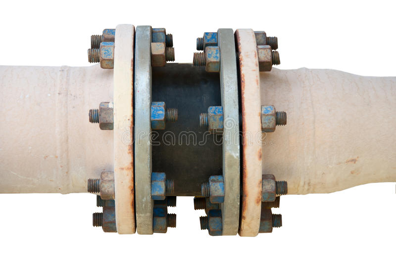 Metal pipe flanges with bolts on an isolated background, Pipe line in oil and gas industry and installed in plant or process. Metal pipe flanges with bolts on stock photos