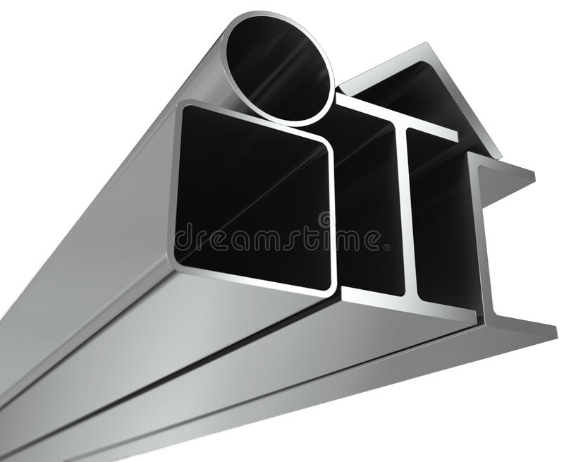 Metal Pipe, Girders, Angles, Channels Stock Images