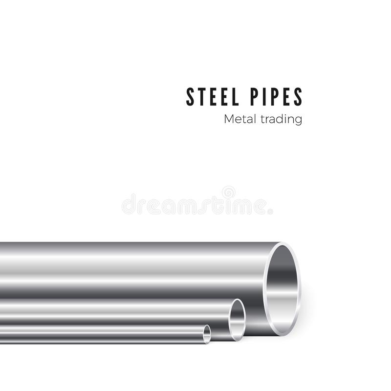 Metal pipe manufacturing. Group of new iron tubes. Piping production. Vector illustration isolated on white background.  stock illustration
