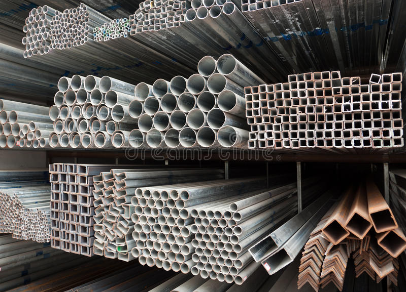 Metal pipe stack stock image