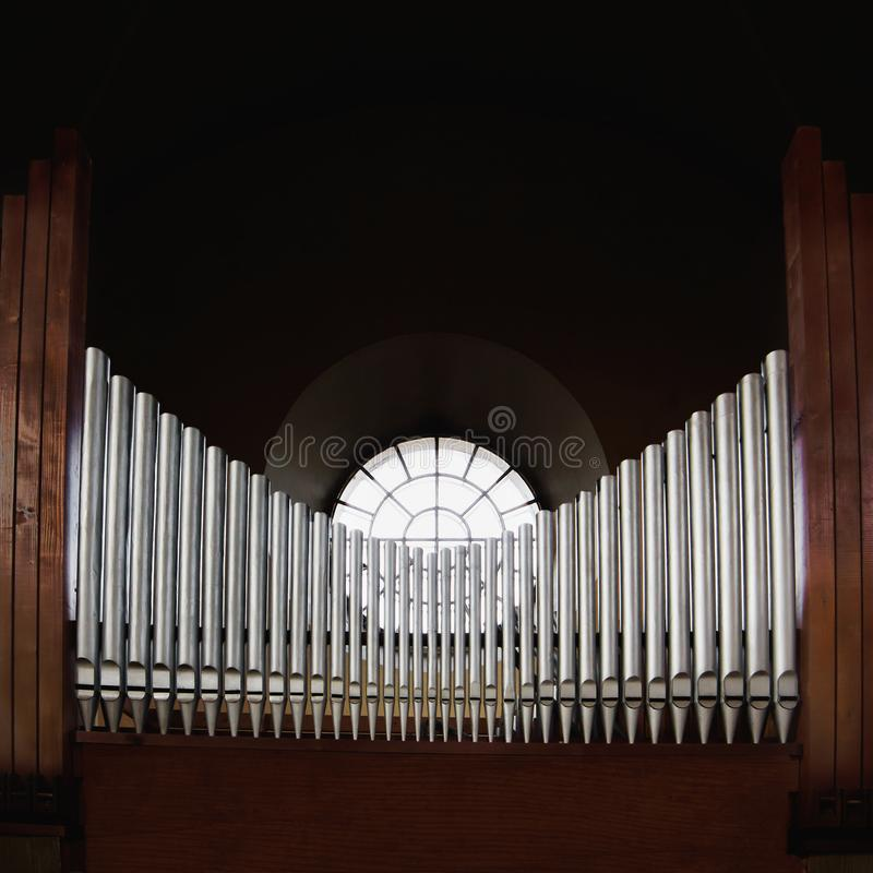 Metal pipes of pipe organ stock photography
