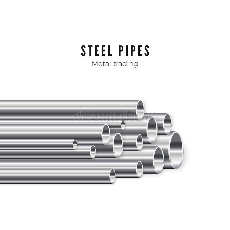Metal pipes stack. Banner template of tube production. Vector illustration isolated on white background vector illustration