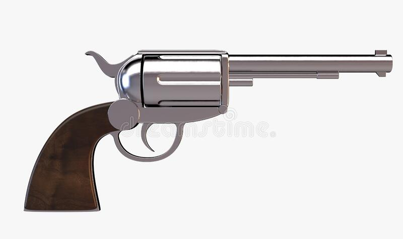 Pistol Handgun. A metal pistol handgun on an isolated white studio background - 3D render stock illustration