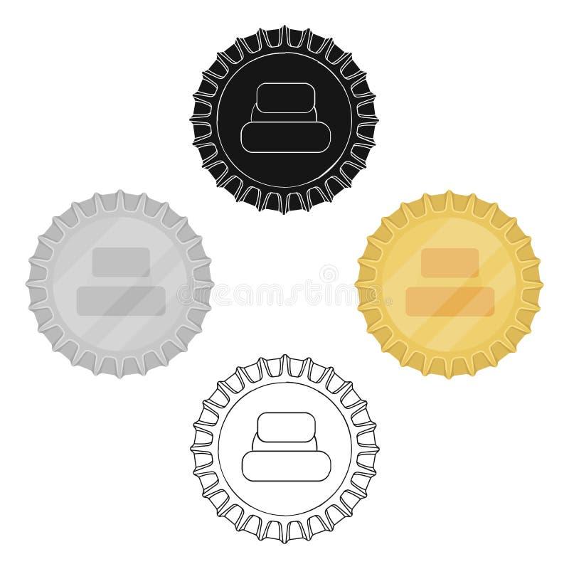Metal piwna nakr?tka Dekiel dla zamyka? butelki Pub pojedyncza ikona w kreskówce, czerń symbolu zapasu stylowa wektorowa ilustrac royalty ilustracja