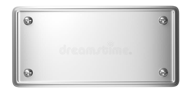 Metal a placa de aço com os parafusos isolados no fundo branco ilustração 3D ilustração royalty free