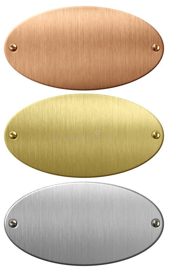 Metal, placas do ouro e as de bronze ou chapas ovais com o trajeto de grampeamento incluído ilustração do vetor