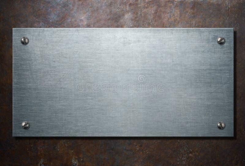 Metal plakieta na nieociosanej tła 3d ilustraci obrazy stock