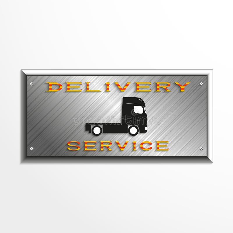 Metal plakieta z wpisowym ` doręczeniowej usługa ` i samochodowym wizerunkiem również zwrócić corel ilustracji wektora royalty ilustracja