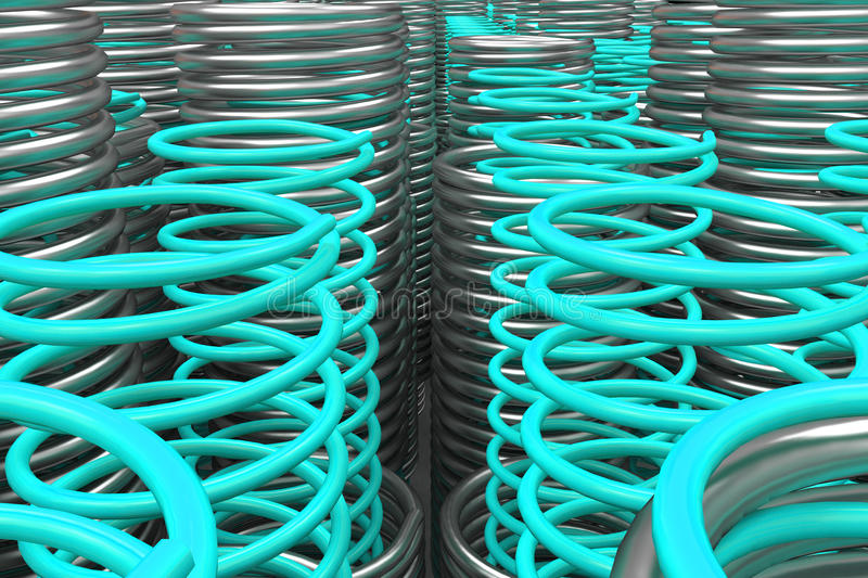 Metal and plastic springs and coils. Of different radius, abstract background, 3D render illustration vector illustration