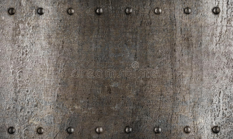 Metal plate or armour texture with rivets stock images