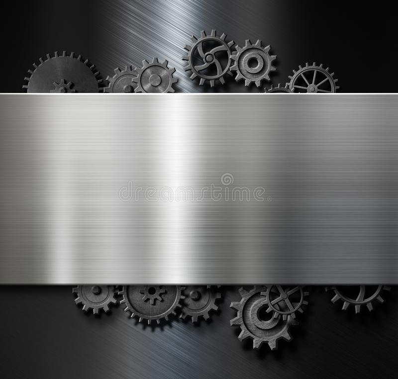 Metal plate background with cogs and gears 3d illustration royalty free illustration
