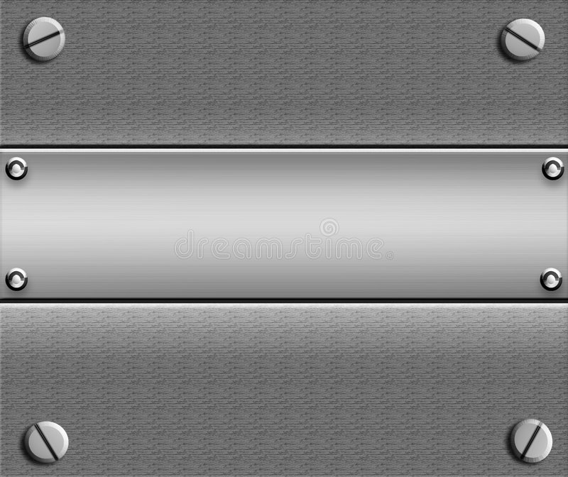 Metal Plate With Copyspace. Background of a sheet of shiny realistic metal with screws on each corner and another smooth brushed metal plate in the middle good royalty free illustration