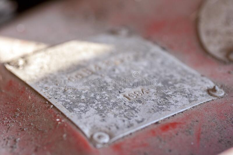 Metal plate on an old car.  royalty free stock photography