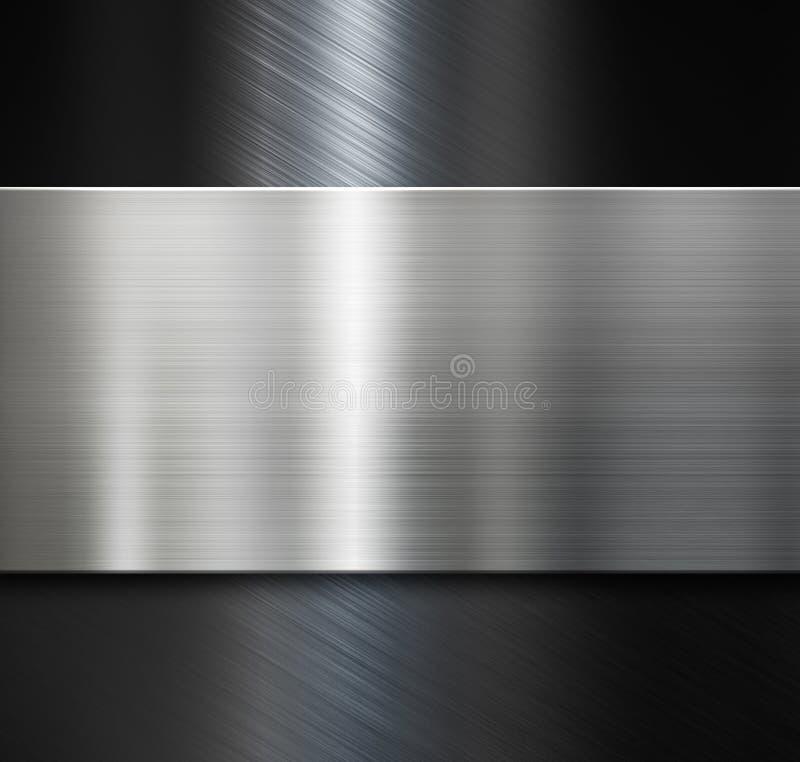 metal plate over black brushed metallic background stock