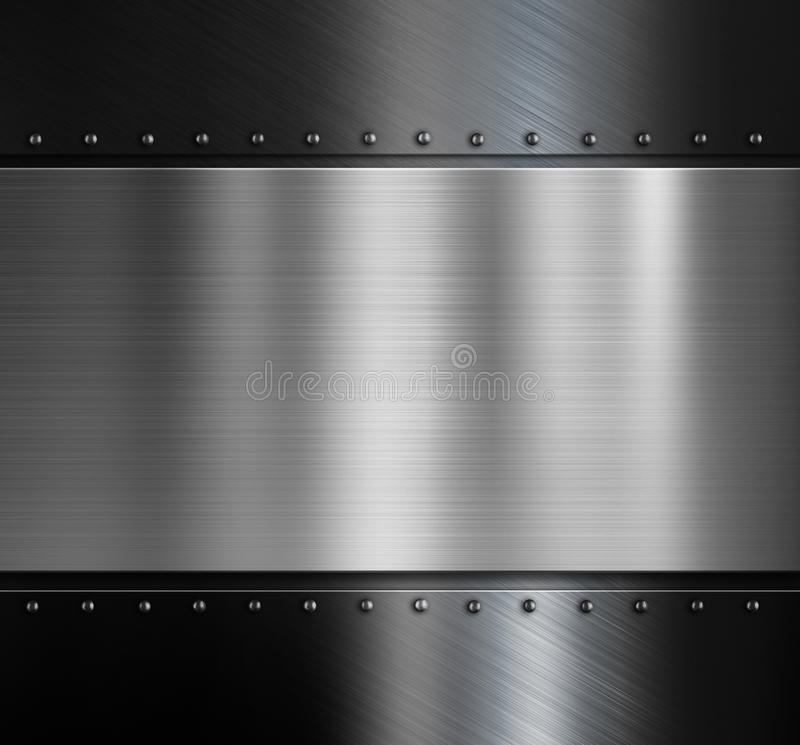 Metal Plate Over Black Metallic Background With Stock